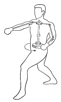 Drawing of a person performing a gyaku-zuki (reverse punch) with an illustration of mechanical mechanism that shows a center axis rotation with the punching arm moving forward and the other arm moving backwards.